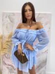 Sukienka mini z falbanami błękitna Olga 17 - photo #5