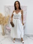 Sukienka maxi na ramiączka ażurowa biała Sara 09 - photo #0