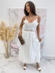Sukienka maxi na ramiączka ażurowa biała Sara 09 - photo #1