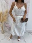 Sukienka maxi na ramiączka ażurowa biała Sara 09 - photo #2