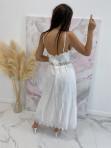Sukienka maxi na ramiączka ażurowa biała Sara 09 - photo #3