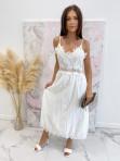 Sukienka maxi na ramiączka ażurowa biała Sara 09 - photo #4