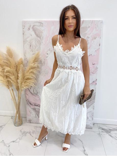 Sukienka maxi na ramiączka ażurowa biała Sara 09