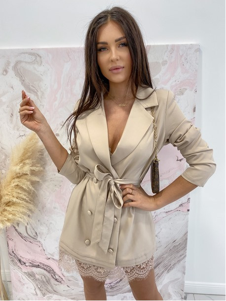Sukienka mini a'la marynarka beżowowa Cover  54