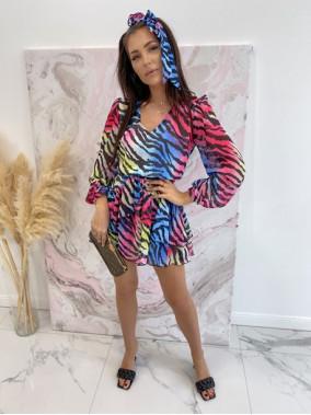 Sukienka mini na długi rękaw z falbankami i paskiem kolorowa zebra Sofi 93