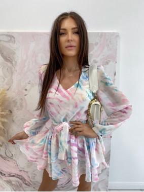 Sukienka mini na długi rękaw z falbankami i paskiem pastelowy róż-zieleń Sofi 93