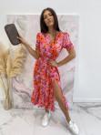 Sukienka maxi z guziczkami na dekolcie w pomarańczowe kwiaty różowa Bibi 02 - photo #1