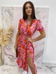 Sukienka maxi z guziczkami na dekolcie w pomarańczowe kwiaty różowa Bibi 02 - photo #2