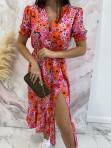 Sukienka maxi z guziczkami na dekolcie w pomarańczowe kwiaty różowa Bibi 02 - photo #4