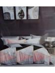 Komplet pościeli satyna bawełniana 200x160 z prześcieradłem wzór marmurek szaro różowo czarna Lila 151 - photo #0