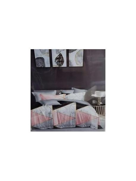Komplet pościeli satyna bawełniana 200x160 z prześcieradłem wzór marmurek szaro różowo czarna Lila 151