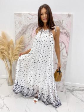 Sukienka maxi w groszki biała Limfa 17