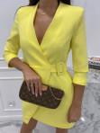 Sukienka mini a'la marynarka żółta Kleo 54 - photo #1
