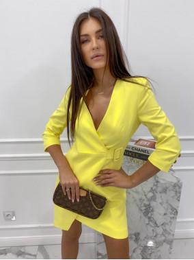 Sukienka mini a'la marynarka żółta Kleo 54