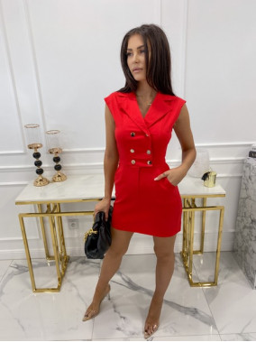 Sukienka mini z dekoltem, zapinana na napy czerwona Dżesi 09
