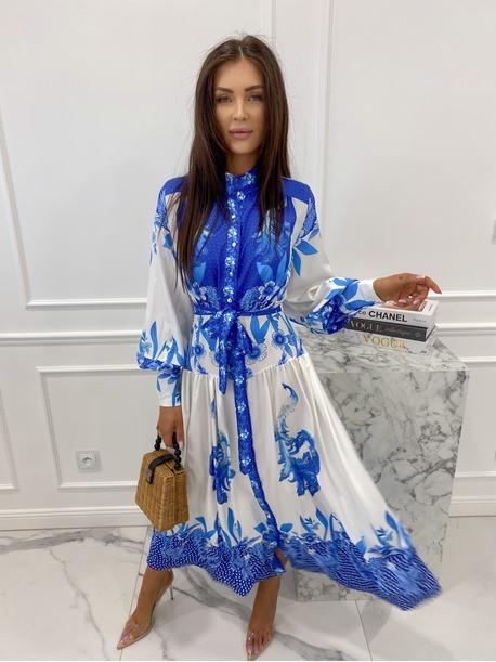 Sukienka maxi w niebieski wzór biała Fela 09