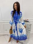 Sukienka maxi w niebieski wzór biała Fela 09 - photo #1