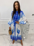 Sukienka maxi w niebieski wzór biała Fela 09 - photo #2