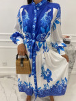 Sukienka maxi w niebieski wzór biała Fela 09 - photo #3