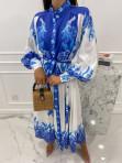 Sukienka maxi w niebieski wzór biała Fela 09 - photo #4