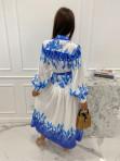 Sukienka maxi w niebieski wzór biała Fela 09 - photo #5