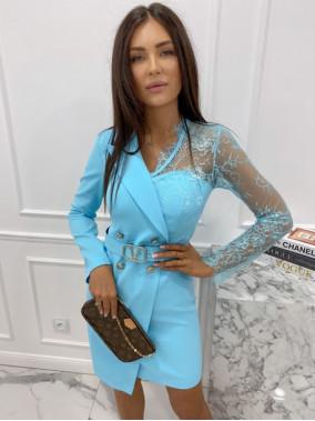 Sukienka a'la marynarka z koronkowym rękawem niebieska Zuzanna 54