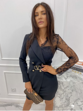 Sukienka a'la marynarka z koronkowym rękawem czarna Zuzanna 54
