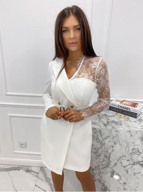 Sukienka a'la marynarka z koronkowym rękawem biała Zuzanna 54