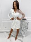 Sukienka a'la marynarka z koronkowym rękawem biała Zuzanna 54 - photo #2