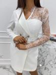 Sukienka a'la marynarka z koronkowym rękawem biała Zuzanna 54 - photo #3