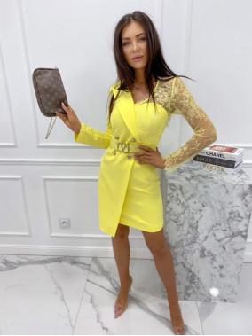 Sukienka a'la marynarka z koronkowym rękawem żółta Zuzanna 54