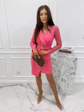 Sukienka a'la marynarka z koronkowym rękawem różowa Zuzanna 54