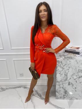 Sukienka a'la marynarka z koronkowym rękawem czerwona Zuzanna 54