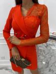 Sukienka a'la marynarka z koronkowym rękawem czerwona Zuzanna 54 - photo #4
