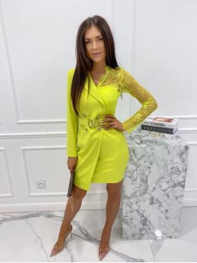 Sukienka a'la marynarka z koronkowym rękawem limonkowa Zuzanna 54