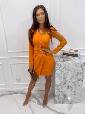Sukienka a'la marynarka z koronkowym rękawem pomarańczowa Zuzanna 54