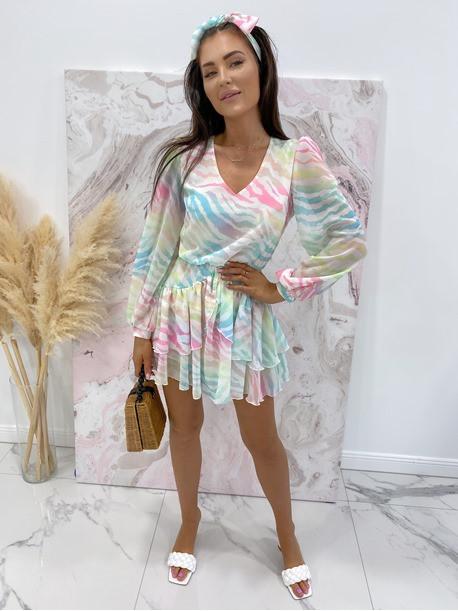 Sukienka mini na długi rękaw z falbankami i paskiem pastelowy róż-limonka-morskiSofi 93