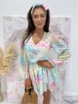 Sukienka mini na długi rękaw z falbankami i paskiem pastelowy róż-limonka-morskiSofi 93 - photo #1