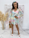 Sukienka mini na długi rękaw z falbankami i paskiem pastelowy róż-limonka-morskiSofi 93 - photo #2