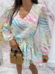 Sukienka mini na długi rękaw z falbankami i paskiem pastelowy róż-limonka-morskiSofi 93 - photo #3