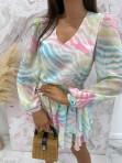 Sukienka mini na długi rękaw z falbankami i paskiem pastelowy róż-limonka-morskiSofi 93 - photo #5