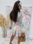 Sukienka mini na długi rękaw z falbankami i paskiem pastelowy róż-limonka-morskiSofi 93 - photo #4