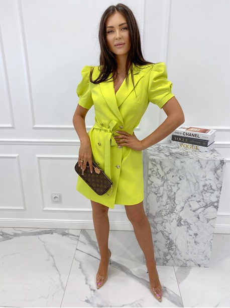 Sukienka na krótki rękaw z paskiem limonka Tamaris 54