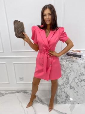 Sukienka na krótki rękaw z paskiem różowa Tamaris 54