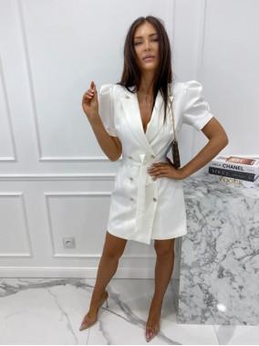 Sukienka na krótki rękaw z paskiem biała Tamaris 54
