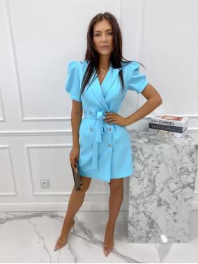 Sukienka na krótki rękaw z paskiem niebieska Tamaris 54