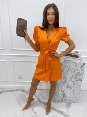 Sukienka na krótki rękaw z paskiem pomarańczowa Tamaris 54