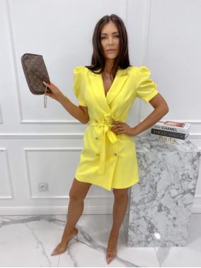 Sukienka na krótki rękaw z paskiem żółta Tamaris 54