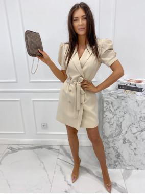 Sukienka na krótki rękaw z paskiem beżowa Tamaris 54