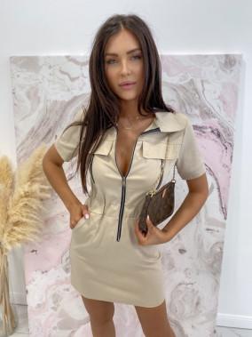 Sukienka mini na krótki rękaw z kieszeniami beżowa Minko 09